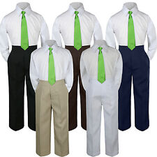 3pc Lime Green Tie Shirt Suit for Baby Boy Toddler Kid Pants Color by Selection