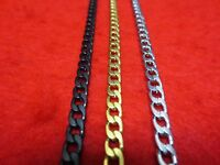 "16""-48"" Men Stainless Steel Gold,Silver,Black , 5mm Curb  Cuban Chain Necklace"
