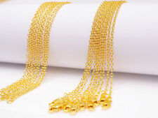 "Wholesale 16-30"" 5/1PCS 18K Yellow GOLD Filled Rolo CHAIN NECKLACES For Pendant"