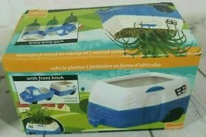 Ceramic Vehicle Planter 5.5 x 3 Inch Blue Camper With Front Hitch New Free Ship
