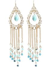 Hochwertige Lange Ohrringe Filigran Vergoldet Perlen aus Kristalle Blau 10,8cm