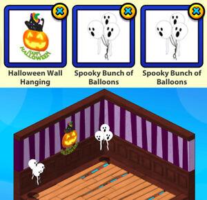 2018 Webkinz 3-pc HALLOWEEN Challenge: Wall Hanging & Spooky Bunch Balloons (x2)