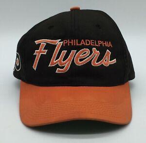 Vtg Philadelphia Flyers Snapback Black Dome Hat Sport Specialties Double Script