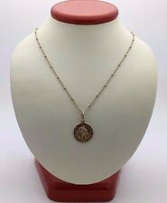 """14K Yellow Gold St. Christopher Protect us Pendant w/ Two Tone Gold 16"""" Necklace"""