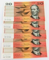 .1966 UNC R401 5 x $20 CONSECUTIVE RUNNING NOTES. COOMBS / WILSON. XAE PREFIX