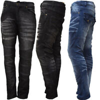 New Mens Boy Motorbike Motorcycle Denim Jeans Slim Trouser Pants with Protectors