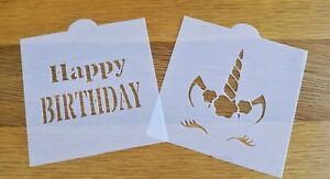 Happy Birthday & Unicorn Face Stencils Pack of 2 - Cake Decorating / Crafts Tool