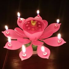 Lotus Candle Birthday Flower Musical Floral Cake Candles /w Music Magic
