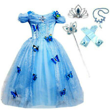 Girls Cinderella Butterfly Princess Cosplay Party Costume Dress with Accessories