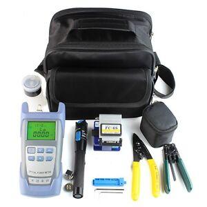 12 in1 Fiber Optic FTTH Tool Kit Set Power Meter FC-6S Optical Cleaver Finder