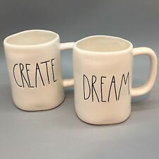 Rae Dunn CREATE DREAM Coffee Mug Set of 2 Artisan Collection Black Letters NEW