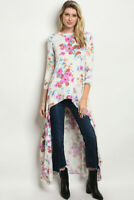 New Annabelle USA Boho Western Floral Colorful Hi-Low Maxi Tunic Top S-M