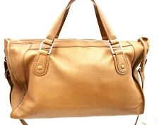 Authentic DELVAUX  Hand Bag /Shoulder Bg Tan Leather Vintage Dust Bag Large