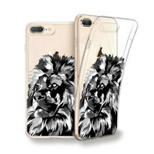 Funda gel dibujo Gran León blanco y negro para Iphone 6 7 8 plus X Xs Xs MAX XR