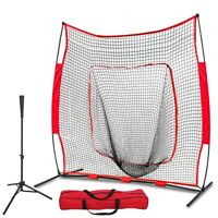 7'×7' Baseball Softball Practice Net w/Bag & Bow Frame + Pro-Style Batting Tee