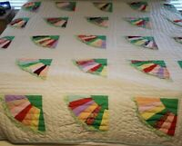 "Home Made Hand Sewn Quilt Colorful Circus Clown Frilly Girl Kids Room 90"" x 87"""