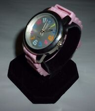 Ladies Unbranded Rainbow Dial Analog Quartz Watch Pink Jelly Silicone Band
