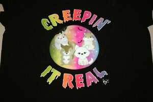 New Justice Girls Top 22 Plus year Creepin' it Real Holographic Tee Black