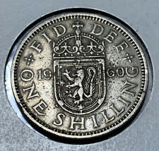 1960 UK Britain British One 1 Shilling Lion Shield Coin ~ One Lion