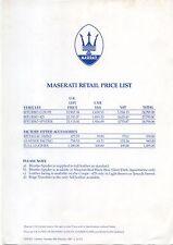 MASERATI UK Listino prezzi 1987 BITURBO COUPE 425 SPIDER