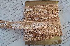 1y VTG FRENCH GOLD LUREX METALLIC FRINGE LOOP LACE TRIM ANTIQUE RIBBON BRAID HAT
