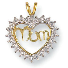 9ct Yellow and White Gold 'MUM' 15mm Love Heart Pendant - Gift Boxed - Free Post