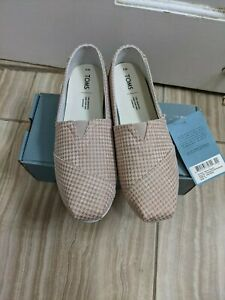 Toms Tan Brown Houndstooth Slip on Shoe size US 9 EU 40 New