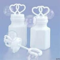 72 DOUBLE HEART WEDDING BUBBLES White Bridal Party Favor ...