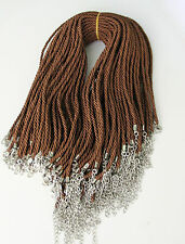 Wholesale 3mm Brown Strings Necklace Chains Cords 10pcs Had Clasp Light and Good