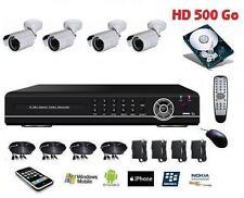 Kit de vidéo surveillance, enregistreur IP DVR 500Go + 4 caméras tube IR int/ex