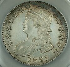 1821 Capped Bust Silver Half 50c, O-107 ANACS AU-50, Details, Cleaned, Rarity-3