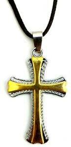 GOLD SILVER METAL CHRISTIAN CROSS Lightweight Necklace With Adjustable Cord