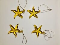 Lot Of 4 Clear Glass Yellow Starfish Christmas Holiday Beach Ornaments