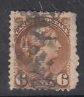 """Canada Scott #39b  6 cent yellow brown PERF 11 1/2 x 12 """"Small Queen""""   F"""