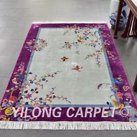 YILONG 4'x6' Vintage Handmade Chinese Art Deco Silk Carpet Indoor Study Area Rug