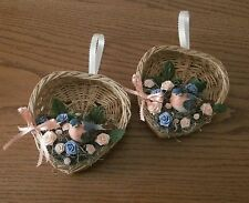Blue and Peach Wall Hanging Rose Basket Set with Bird Accent
