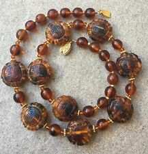 Vintage Antique Chinese Carved Amber Bead Necklace