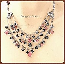Faceted-Rhodonite-Pink-Black-Onyx-Sterling Silver-Filigree-Drape-Layer-Necklace