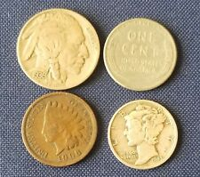 Old US Coins Starter Collection Lot of 4 Rare US Coins with Mercury Dime