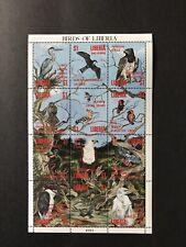 LIBERIA 1993 MNH BIRDS STAMP SHEET 12V WILDLIFE EAGLE HERON PARROT SWALLOW HAWK