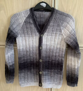 New Hand Knitted Boys Variegated Grey Long Sleeved V-Neck Cardigan Age 6-7 Years