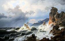 PAINTING SEASCAPE MARITIME ACHENBACH SEA STORM NORWAY COAST LARGE PRINT LF986