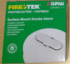 Clipsal Fire Tek Photoelectric Smoke Alarm - 755PSMA2 - 240V 9V Battery Backup