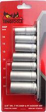 """Teng Tools M3807 3/8"""" Drive 73160103 7PC  6PNT Hex 10mm-19mm Deep Socket Set"""