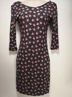 Next Black w/ Rose Pattern Floral Sheath Dress - Size XS (379g)