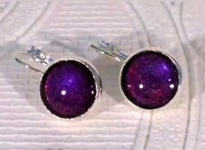 Purple holographic glitter in silver toned dangle hinged earrings 12mm