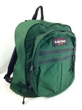VTG Eastpak Backpack Day Pack Book Bag Green Canvas Medium School Campus USA