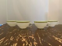 Vintage Pyrex Lime Green With Gold Trim Coffee Cup Set Of 4 K