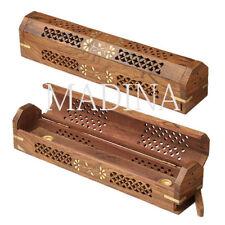"BEST #1 COFFIN BOX INCENSE BURNER Sticks Cones 12"" Hand Carved Wood Ash Catcher"