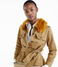 4f2edb88254f J.CREW Peplum Chino Jacket with Faux Fur Collar Ridge L Khaki H1641